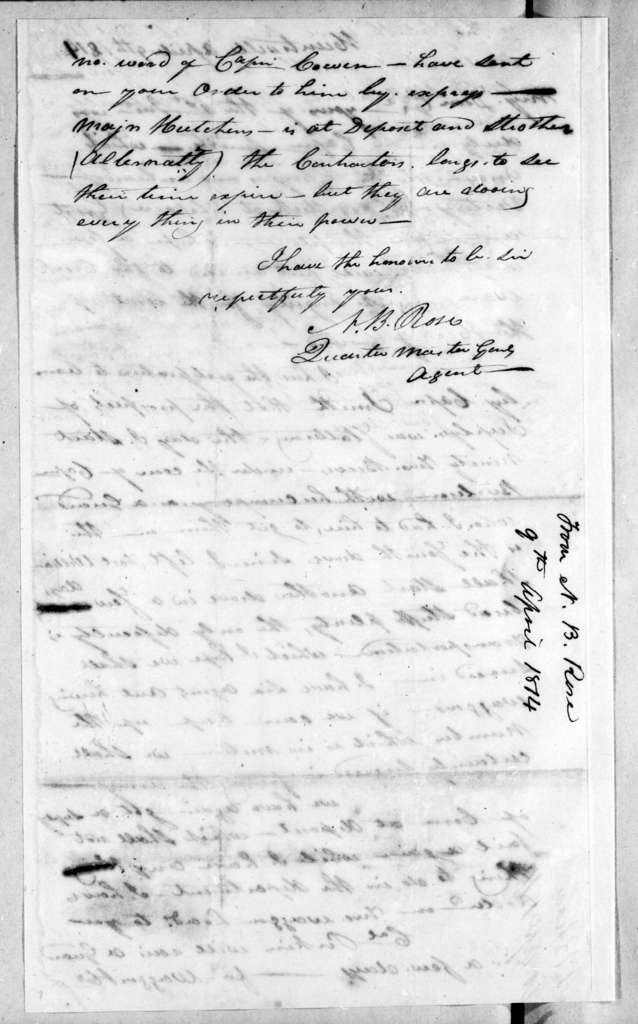 Neil B. Rose to Andrew Jackson, April 9, 1814