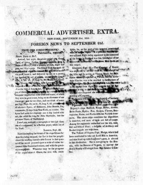 New York Commercial Advertiser, November 21, 1814