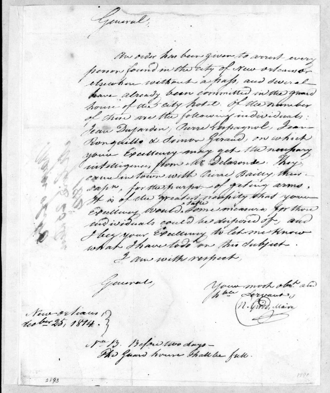 Nicholas Girod to Andrew Jackson, December 25, 1814