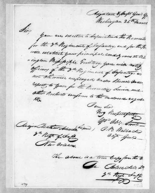 O. B. Walback to M. Alexander, March 26, 1814