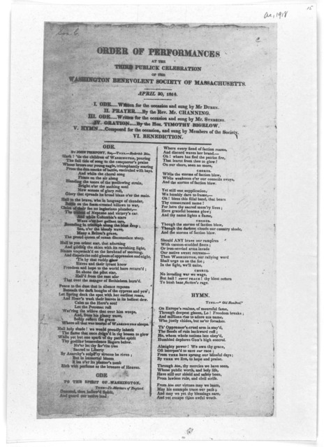 Order of performances at the third publick celebration of the Washington benevolent society of Massachusetts. April 30, 1814.