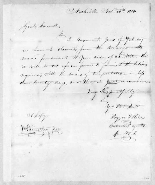 P. Hill to Thomas Carroll, November 16, 1814