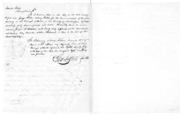 Parish to James Monroe, July 10, 1814. With oath from Joseph Parson and statement of validity by notary public.