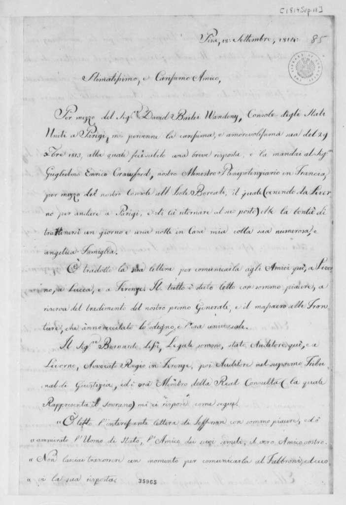 Philip Mazzei to Thomas Jefferson, September 18, 1814, in Italian