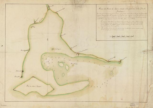 Plano del Puerto de Apra cituado a la parte occl. de la Ysla do Guahan /
