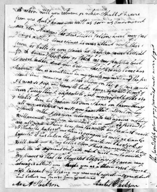 Rachel Donelson Jackson to Andrew Jackson, April 7, 1814