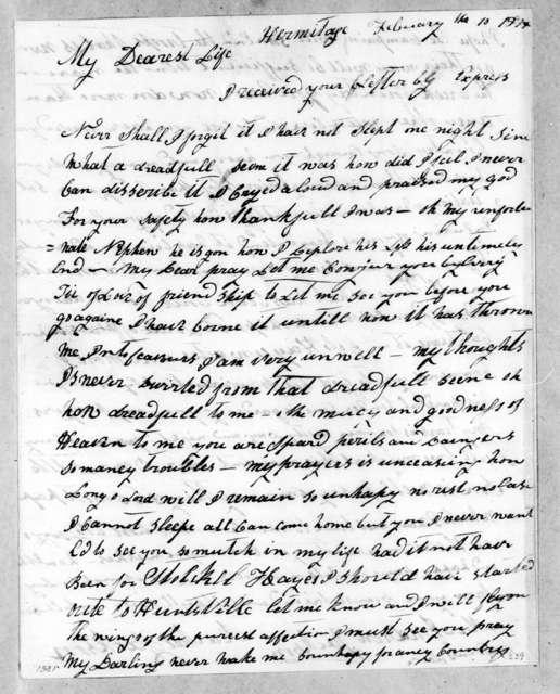 Rachel Donelson Jackson to Andrew Jackson, February 10, 1814