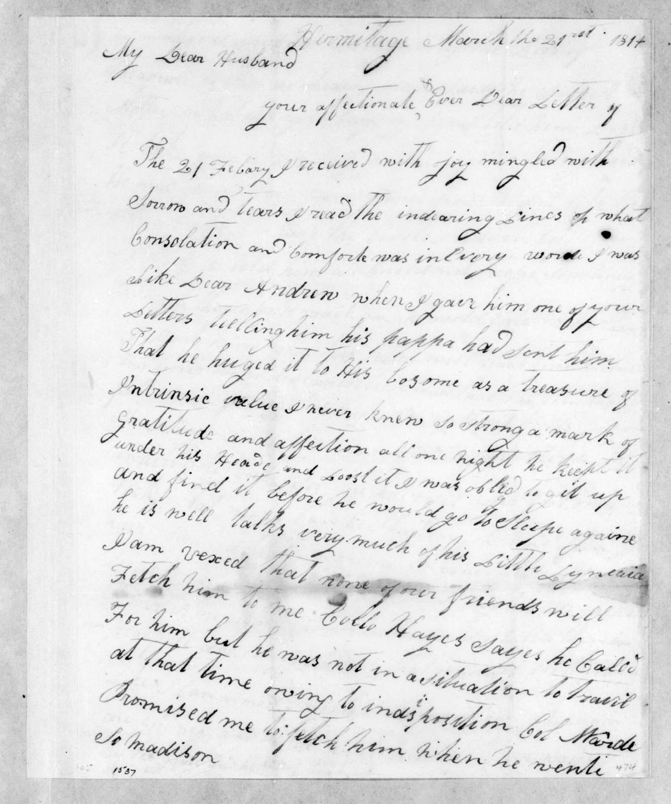 Rachel Donelson Jackson to Andrew Jackson, March 21, 1814