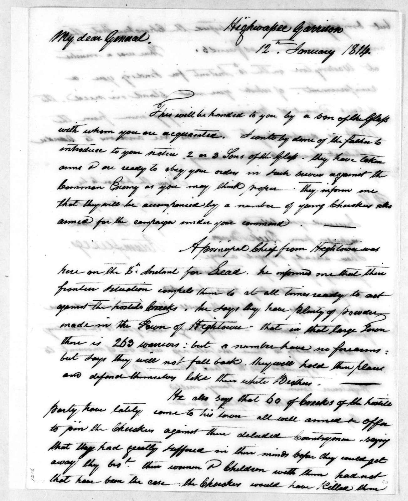 Return Jonathan Meigs to Andrew Jackson, January 12, 1814