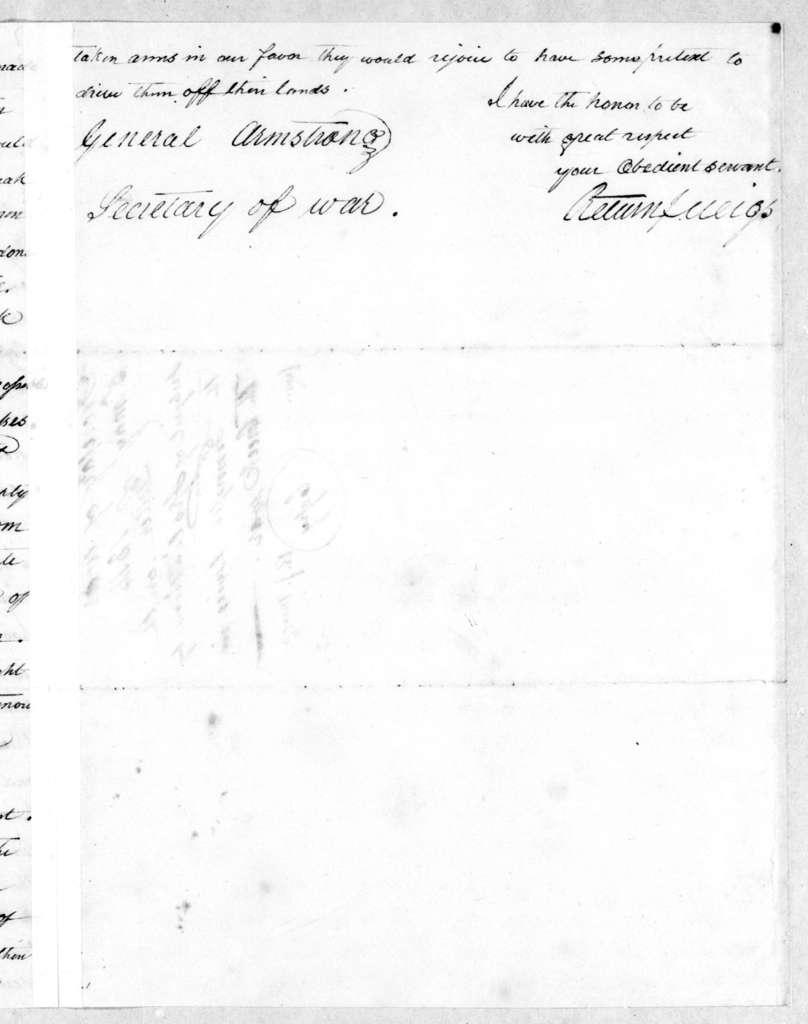Return Jonathan Meigs to John Armstrong, May 5, 1814