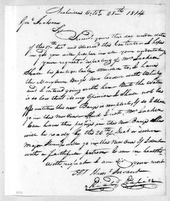 Richard Rapier to Andrew Jackson, October 28, 1814