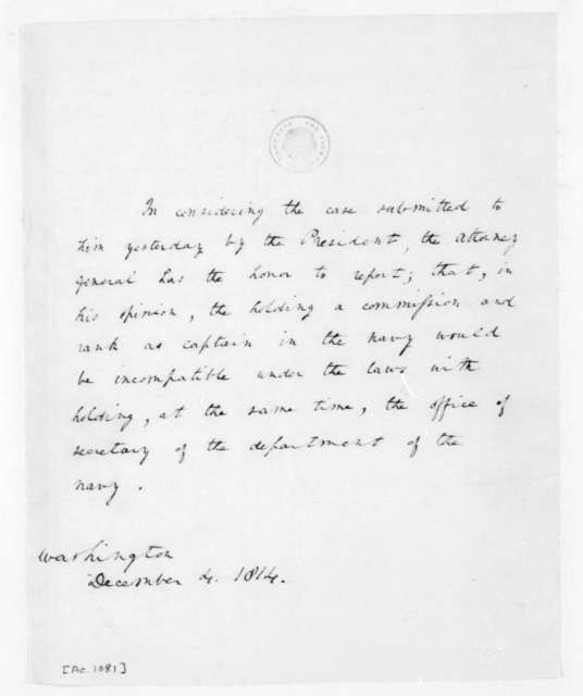 Richard Rush to James Madison, December 4, 1814.