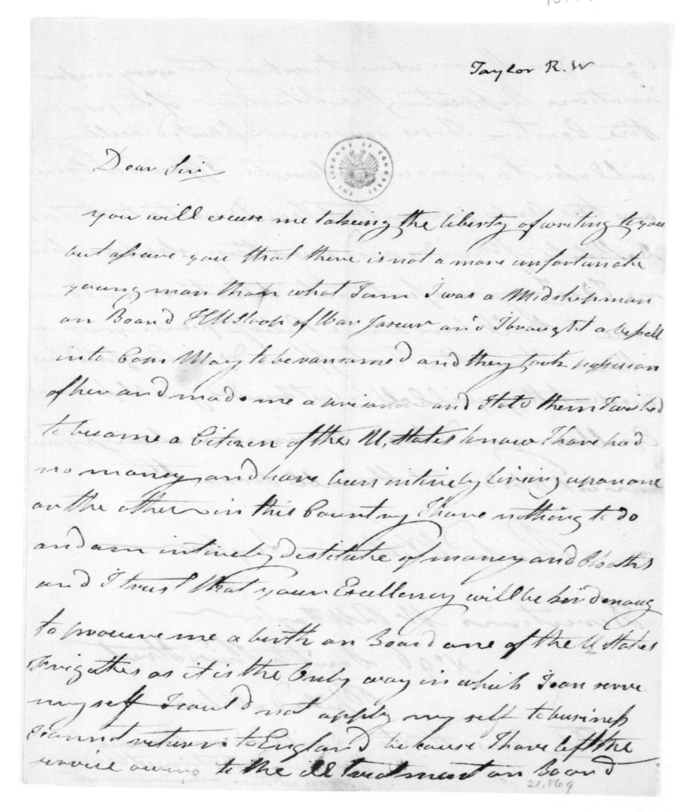 Richard W. Taylor to James Madison. 1814.