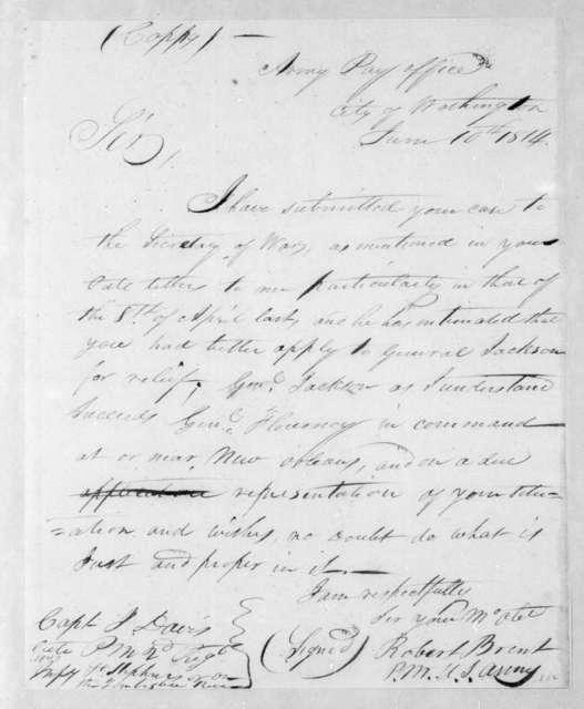 Robert Brent to J. Davis, June 10, 1814