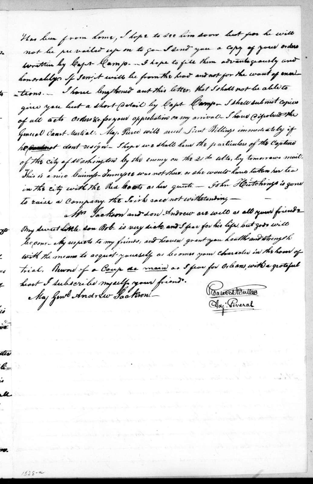Robert Butler to Andrew Jackson, September 12, 1814