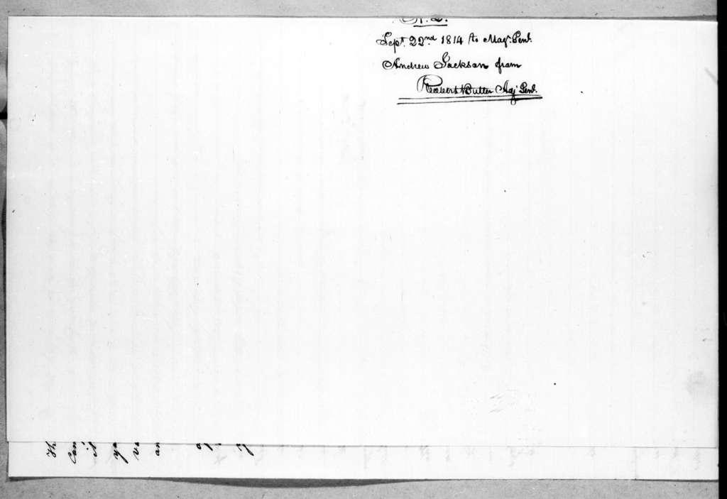 Robert Butler to Andrew Jackson, September 22, 1814