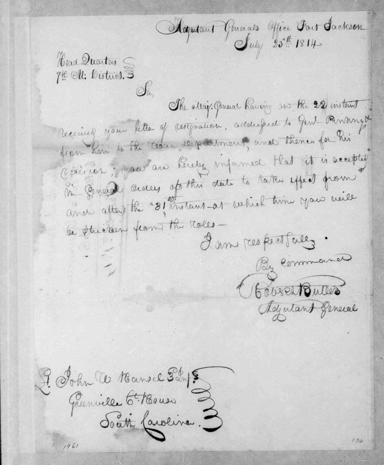 Robert Butler to John W. Hansel, July 25, 1814