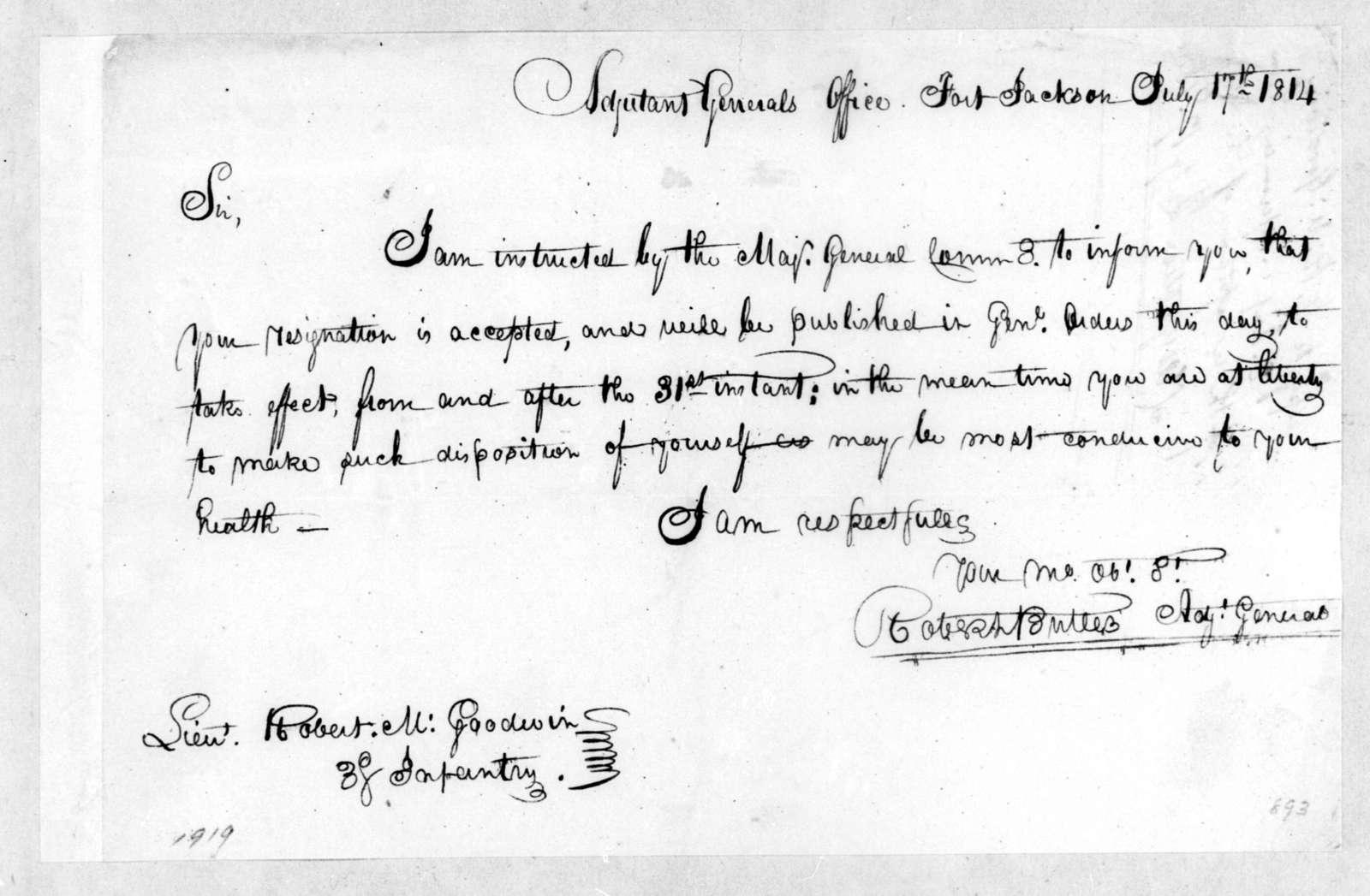 Robert Butler to Robert M. Goodwin, July 17, 1814