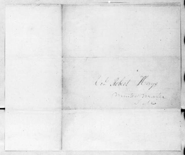 Robert Evans to Robert Hays, August 31, 1814
