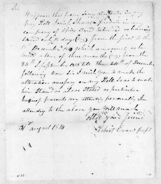 Robert Evans to Robert Hays, August 31, 1814