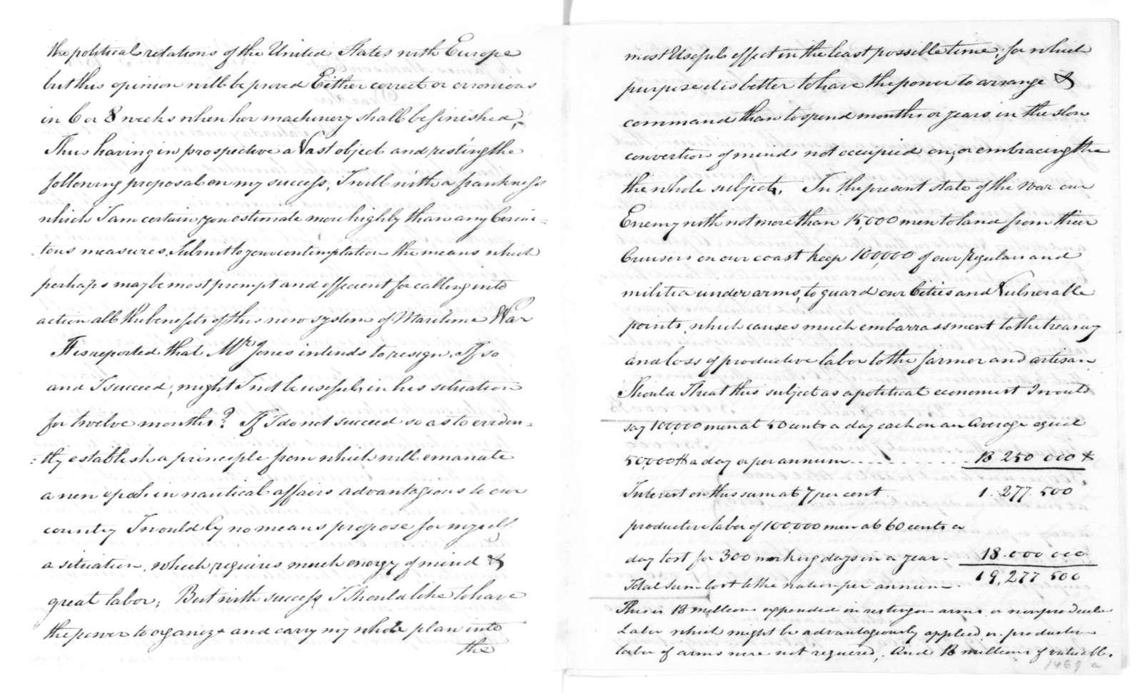 Robert Fulton to James Madison, November 5, 1814.
