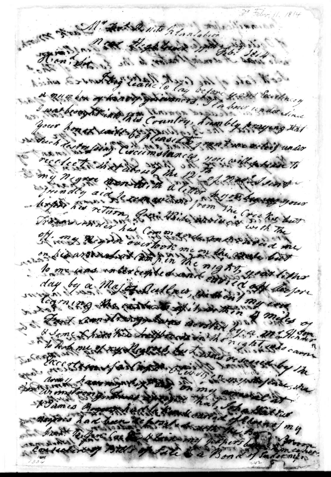 Robert Grierson to Andrew Jackson, February 11, 1814