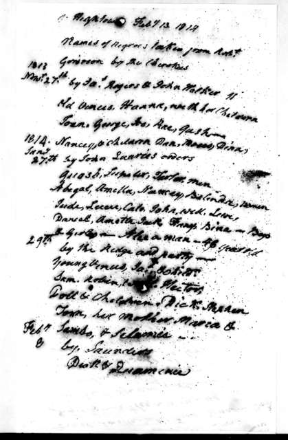 Robert Grierson to Andrew Jackson, February 13, 1814