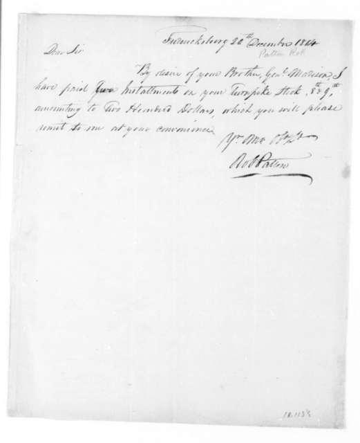 Robert Patton to James Madison, December 20, 1814.