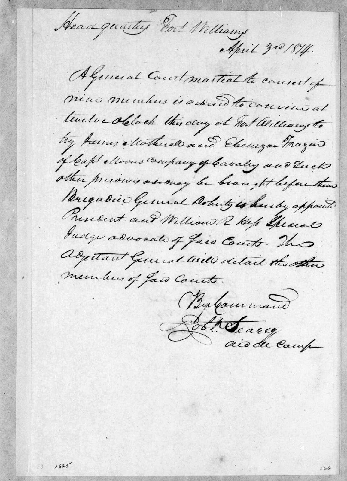 Robert Searcy, April 3, 1814
