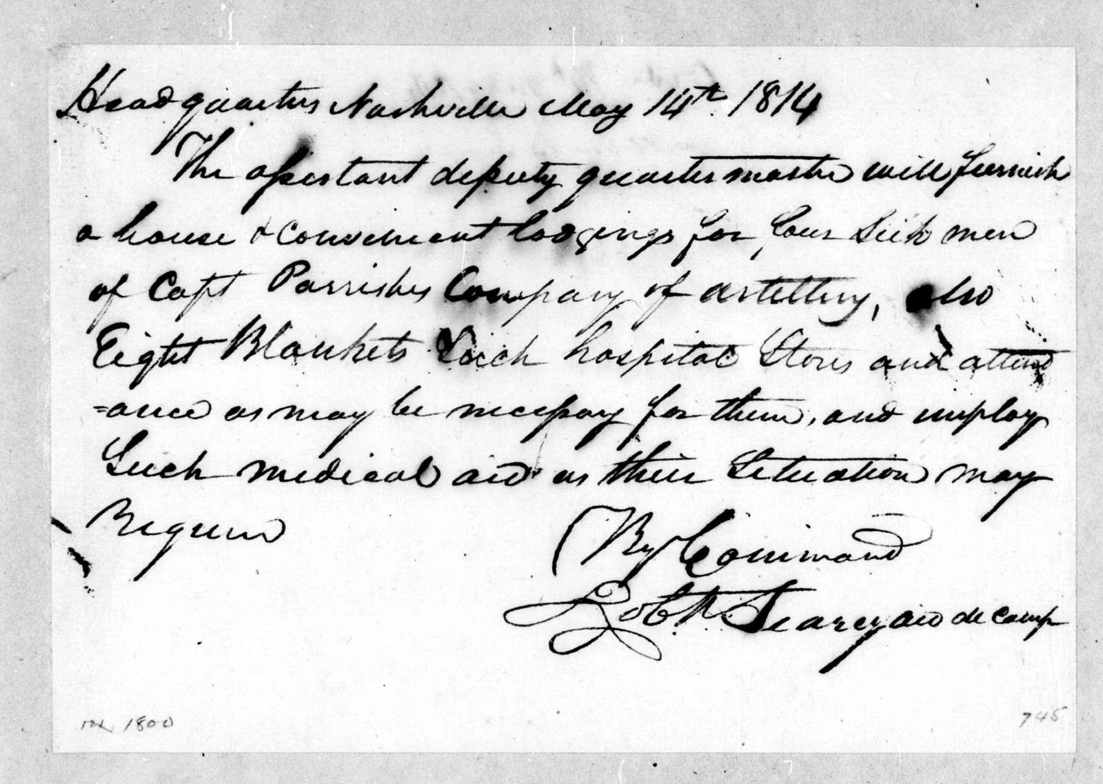 Robert Searcy, May 14, 1814