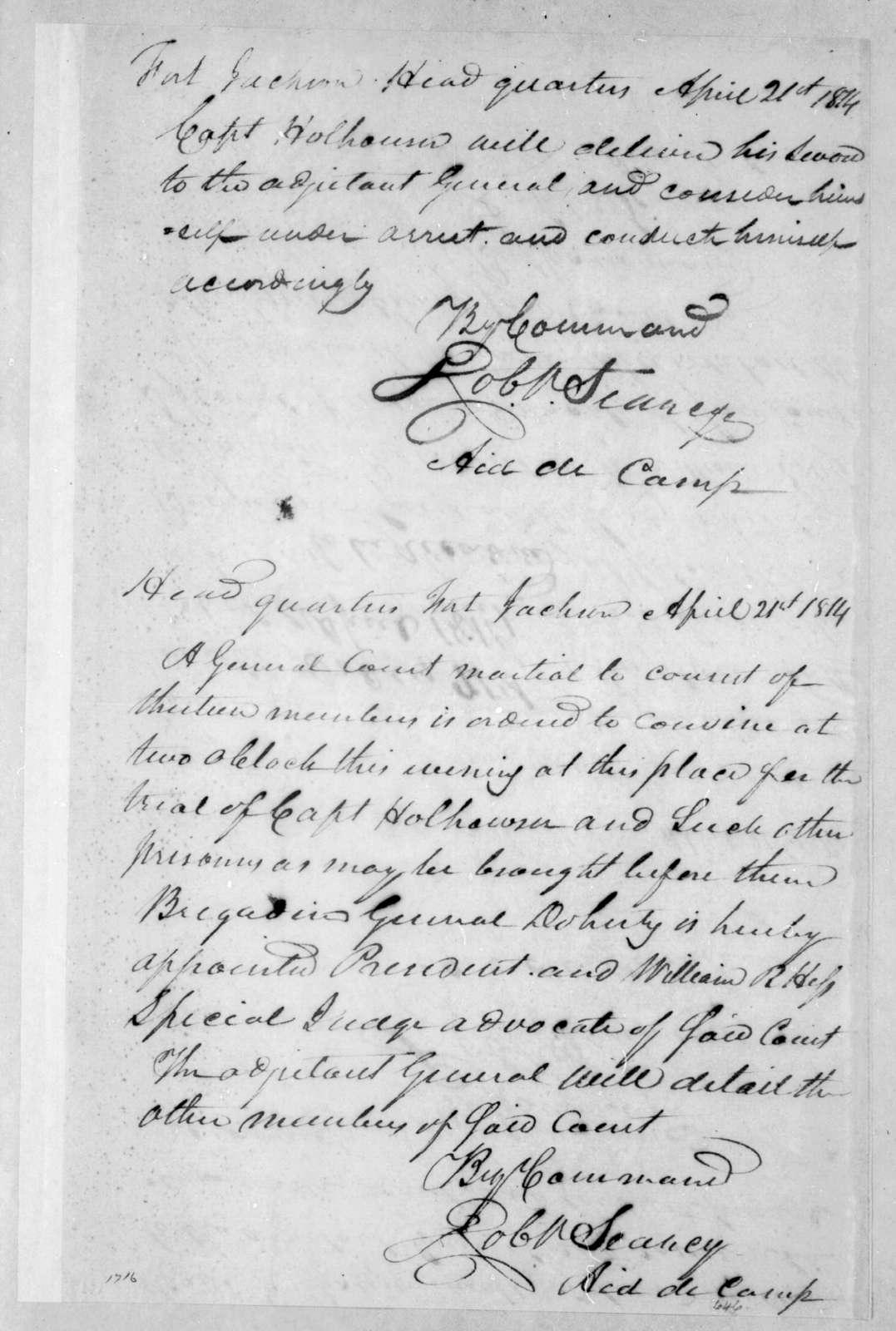 Robert Searcy to J. Graham, April 21, 1814