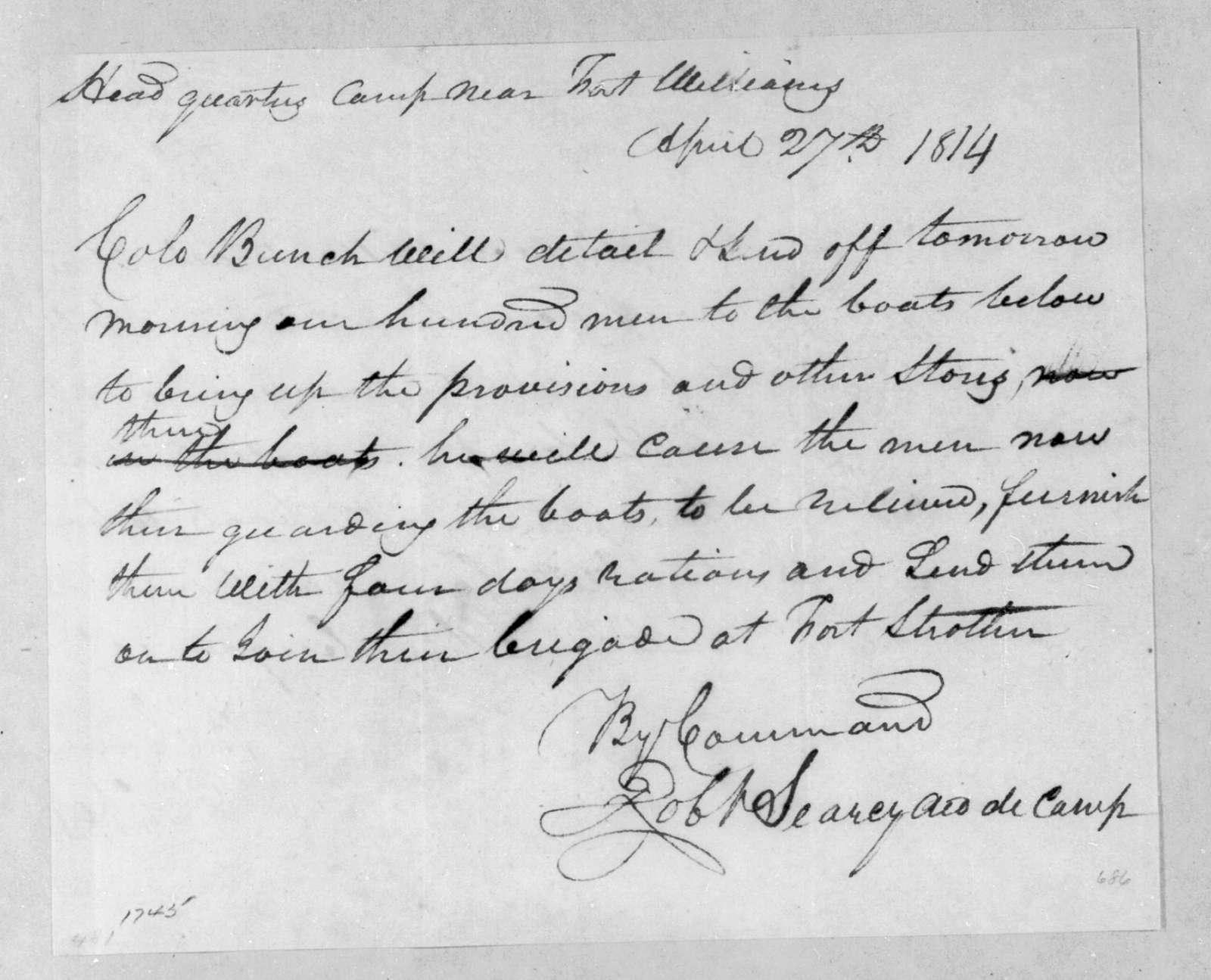 Robert Searcy to Samuel Bunch, April 27, 1814
