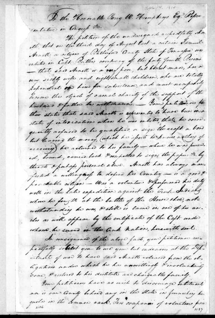 S. P. Black et al. to Parry Wayne Humphreys, September 14, 1814
