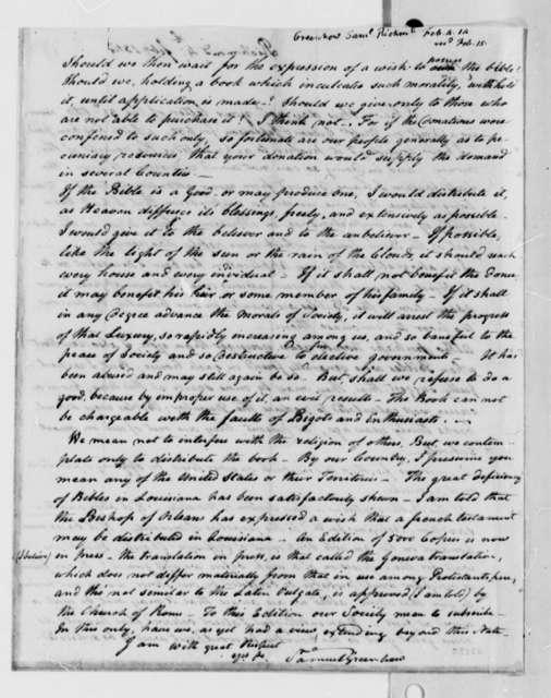 Samuel Greenhow to Thomas Jefferson, February 4, 1814