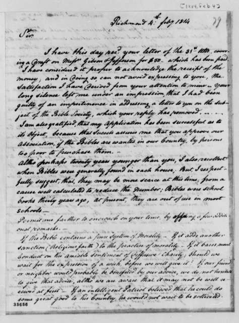 Samuel Greenhow to Thomas Jefferson, February 4, 1814