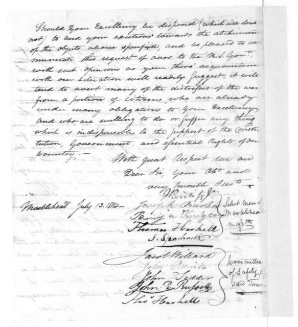Select Men of Marblehead Massachusetts to Elbridge Gerry, July 13, 1814. Marblehead Massachusetts Selectmen and members of the Committee of Safety.