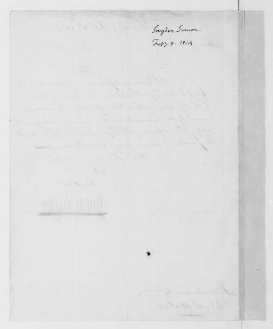 Simon Snyder to James Madison, February 8, 1814.