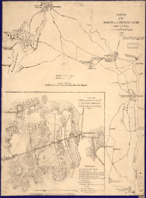 Sketch of the march of the British Army under Gen'l Ross from the 19th to the 29th August 1814 : [central Maryland between Benedict and Washington D.C.] /