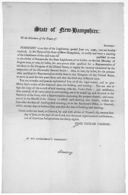 State of New-Hampshire. To the selectmen of the Town of Greeting. Pursuant to an act of the Legislature, passed June 21, 1792, you are hereby required, in the name of the State of New-Hampshire, to notify and warn a meeting of the inhabitants of