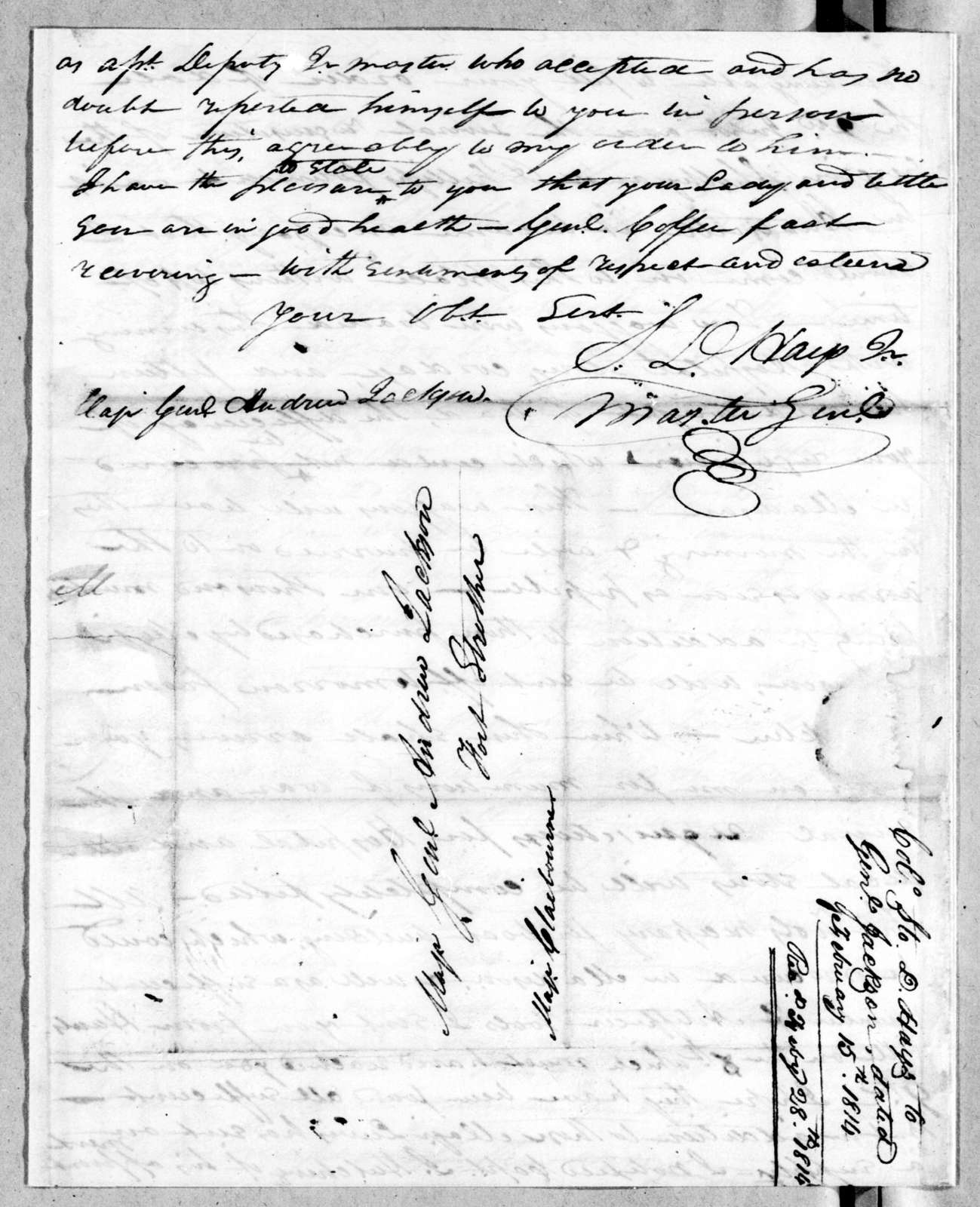 Stockley Donelson Hays to Andrew Jackson, February 15, 1814