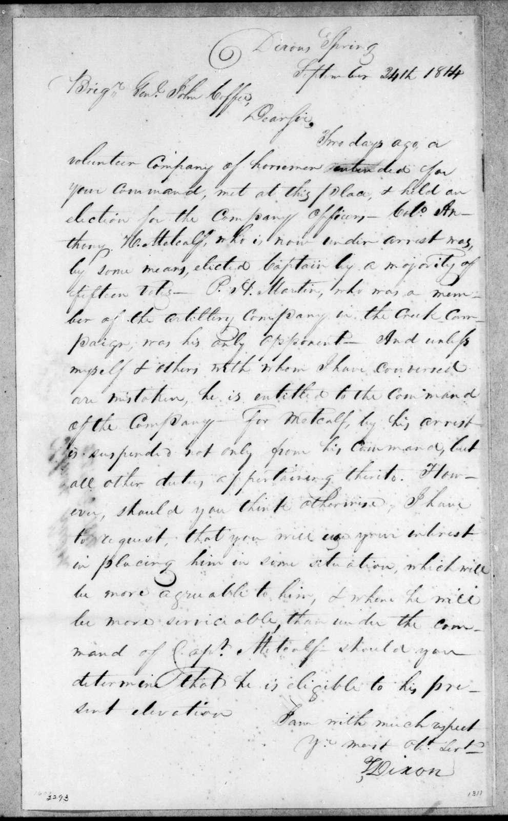 T. Dixon to John Coffee, September 24, 1814
