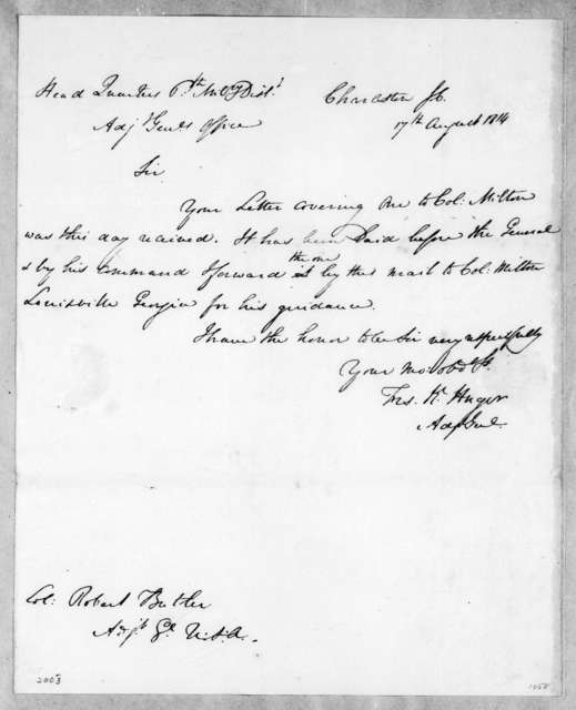 T. K. Huger to Robert Butler, August 17, 1814