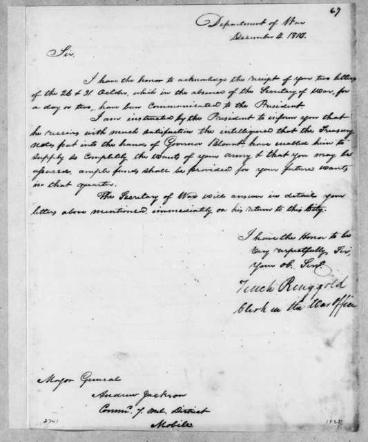 Tench Ringgold to Andrew Jackson, December 4, 1814