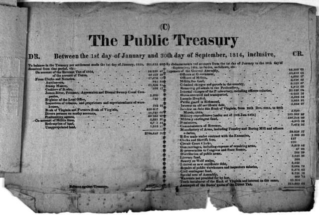 The public treasury between the 1st day of January and 30th day of September, 1814, inclusive. [Richmond, 1814].