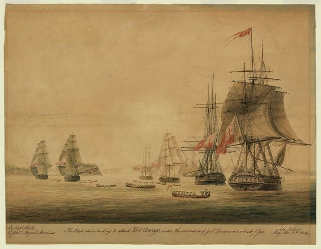The troops disembarking to attack Fort Oswego, under the command of Genl. Drummond and Sir T. Yeo, Lake Ontario, May the 6th 1814 / / By Capt. Steele. 2d. Battn. Royal Marines