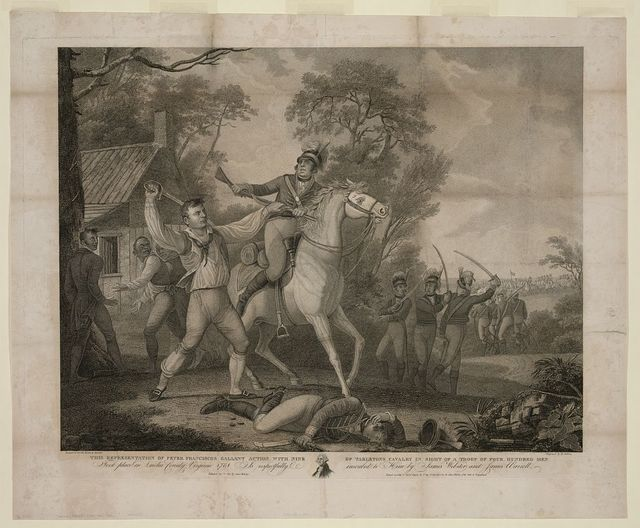 This representation of Peter Franciscos gallant action with nine of Tarletons cavalry in sight of a troop of four hundred men / design'd by Warrell ; drawn by Barralett ; engraved by D. Edwin.