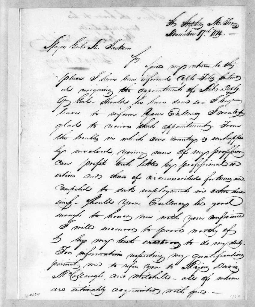 Thomas Amis Rogers to Andrew Jackson, November 17, 1814