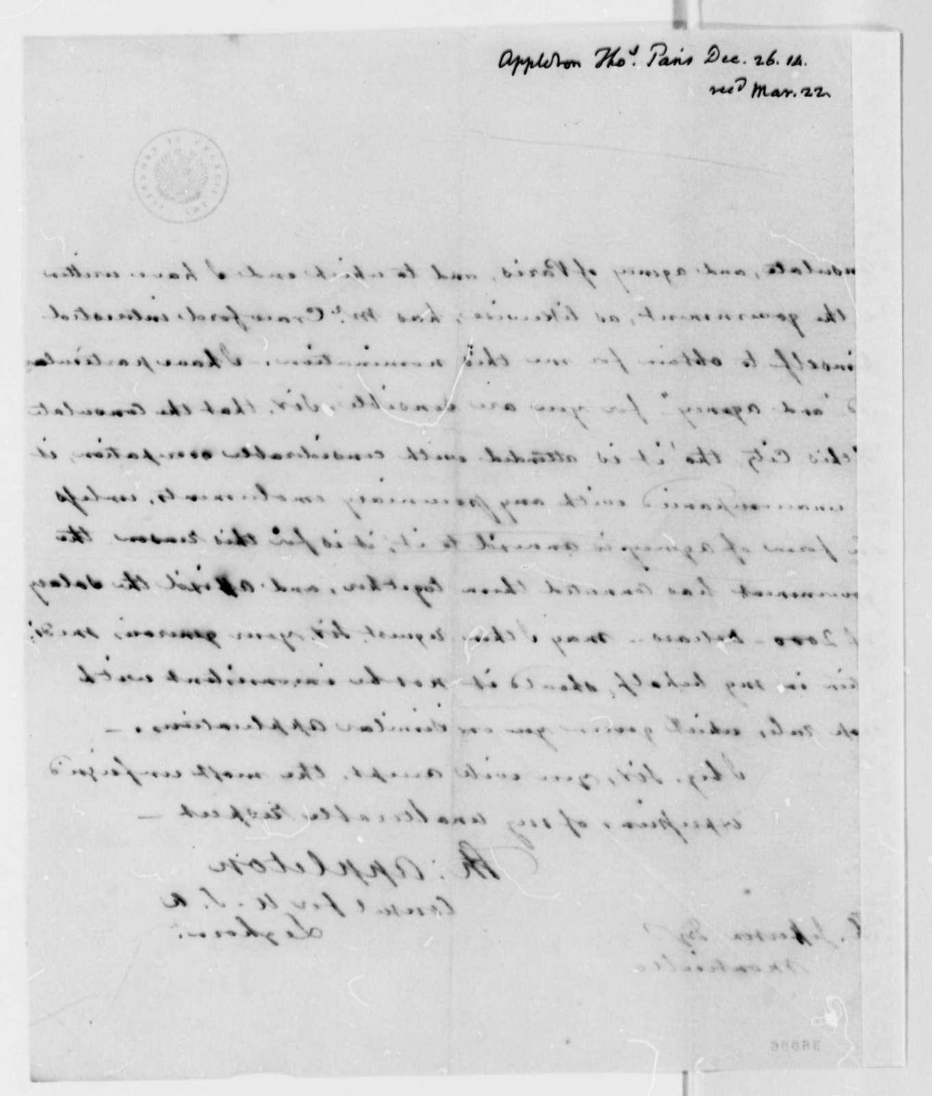 Thomas Appleton to Thomas Jefferson, December 26, 1814