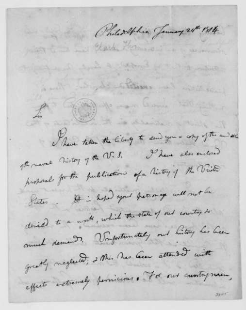 Thomas Clark to James Madison, January 24, 1814.