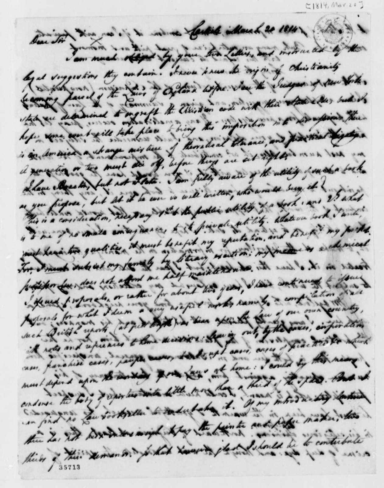 Thomas Cooper to Thomas Jefferson, March 20, 1814